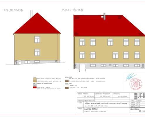 Barevné řešení fasády - východní a severní pohled